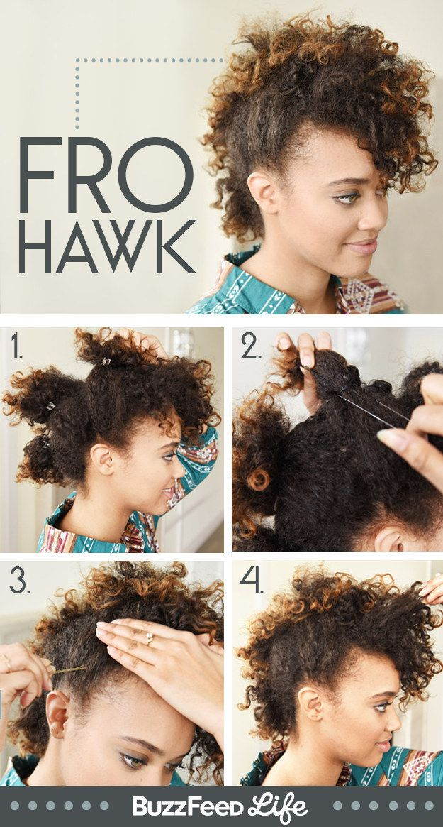 Pull your hair up into four sections to create an awesome curly faux hawk.