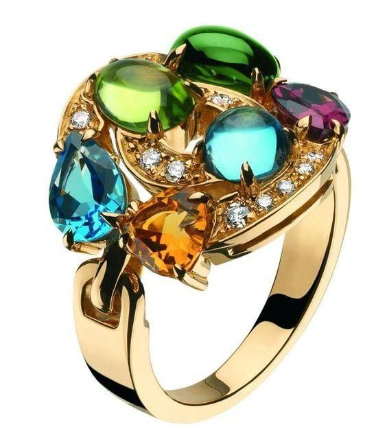 yellow gold and colored gemstones ring pave set diamonds