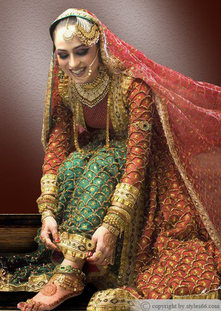 Red And Green Lehenga Design