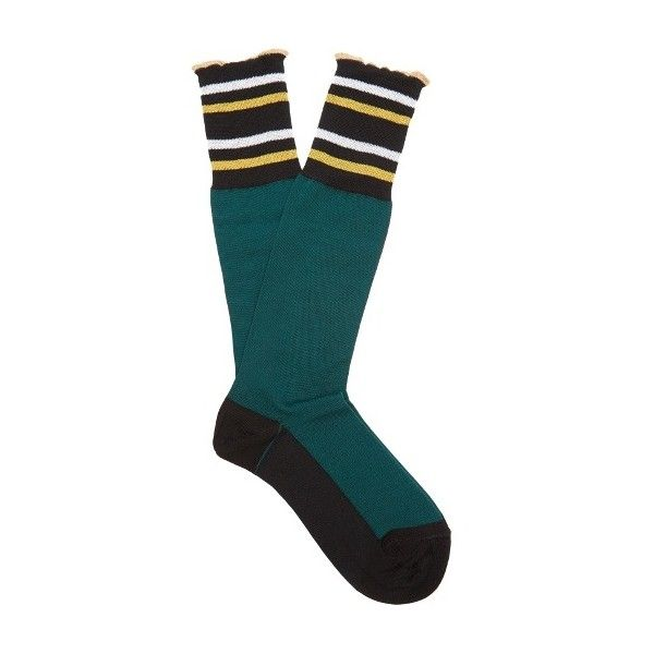Marni Striped cotton-blend socks (€56) ❤ liked on Polyvore featuring intimates, hosiery, socks, green, stripe socks, cotton blend socks, metallic gold socks, marni and striped socks