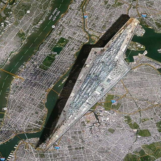 A Visual Size Comparison of a 'Star Wars' Super Star Destroyer and Manhattan via Megadeluxe.More about star wars here.