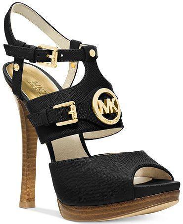 MICHAEL Michael Kors Mackenzie Platform Sandals - In Luggage.but 5 heal.