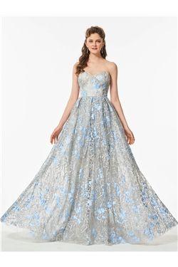 Lace Floor-Length Prom Summer Formal Fall Sweetheart Sleeveless Dress