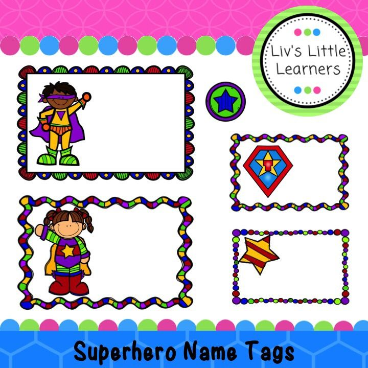 Superhero Name Tags | Children | School | Classroom | Labels | Printable | Groups | Education