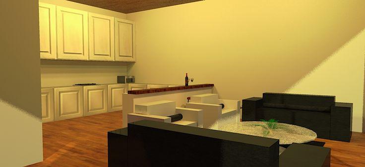 Twilight Render- Living Area/Kitchen- Sketchup-