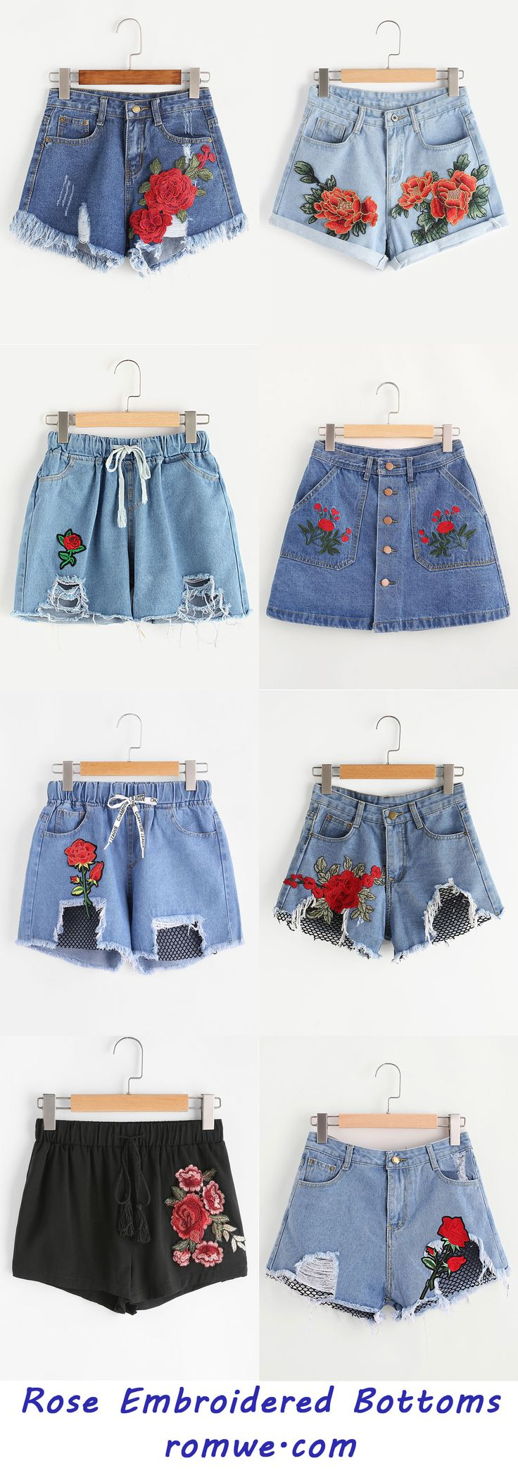 Rose Embroidered Bottoms - romwe.com