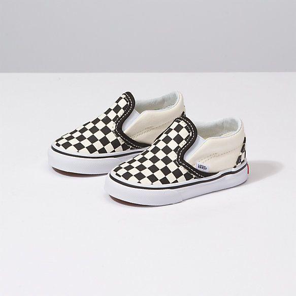 checkerboard vans slip on kids