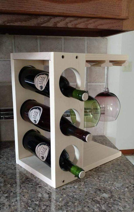 Wine Rack With Stemware Holder Countertop Model Wood Pine Or Dark