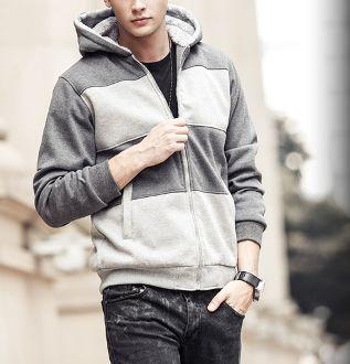 Men's Striped  Hoodie with Inner Fur