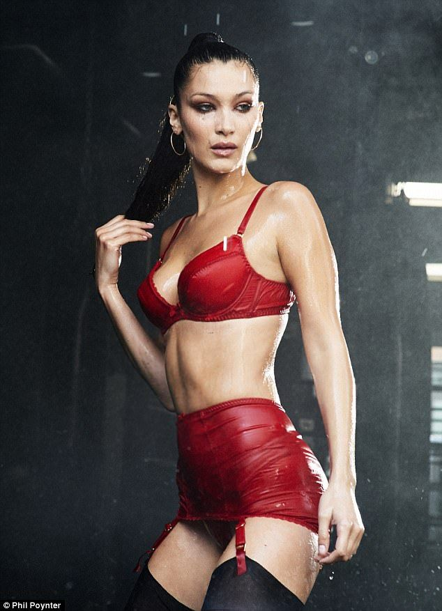 Red hot! Despite her fierce display however, it was Bella's sensational figure that stole the show - displayed in all its glory in a red silk bra and matching briefs