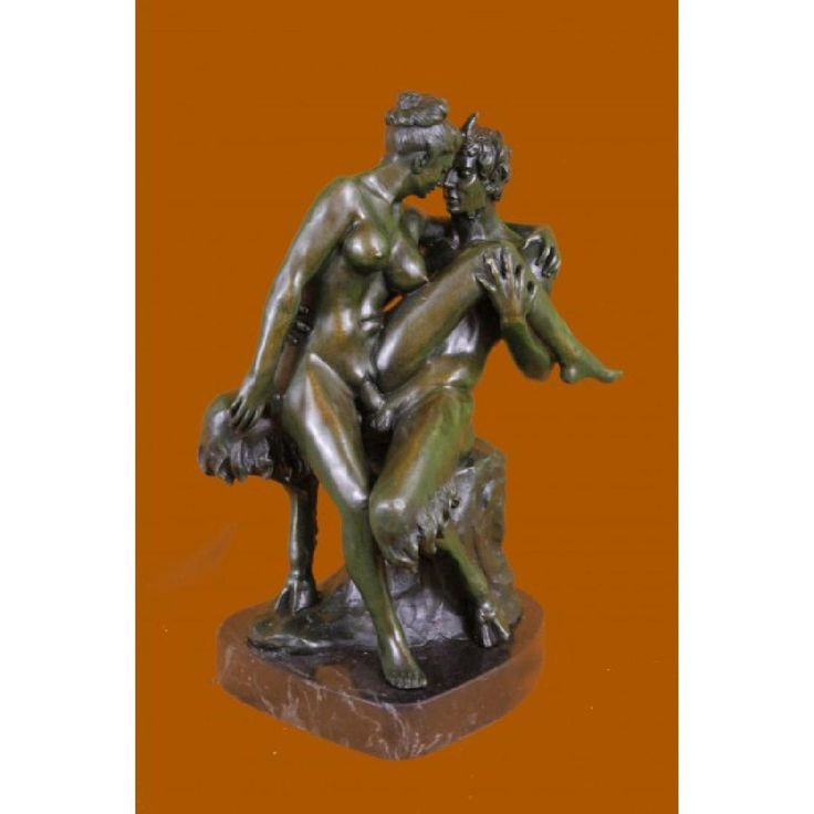 Nude Erotic Art Nude Nymph with Satyr Bronze Sculpture