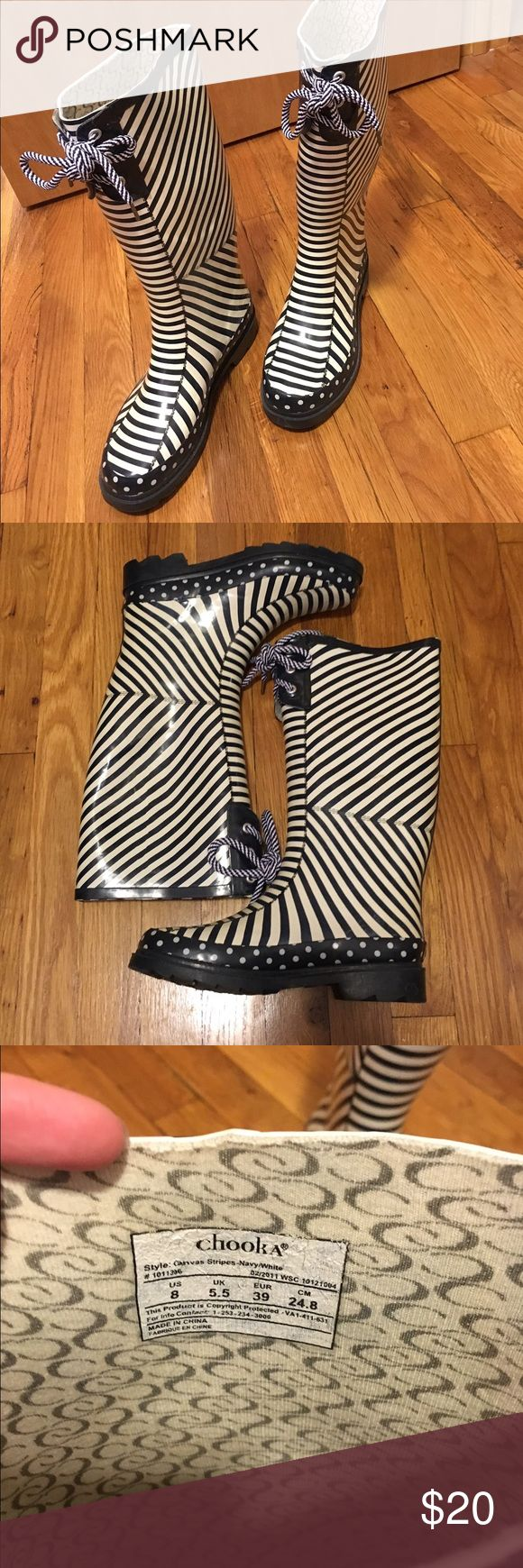 Blue and white striped Rain Boots! Super cute blue and white striped rain boots! Size 8 but run a bit small. Worn a few times but in great condition!! chooka Shoes Winter & Rain Boots