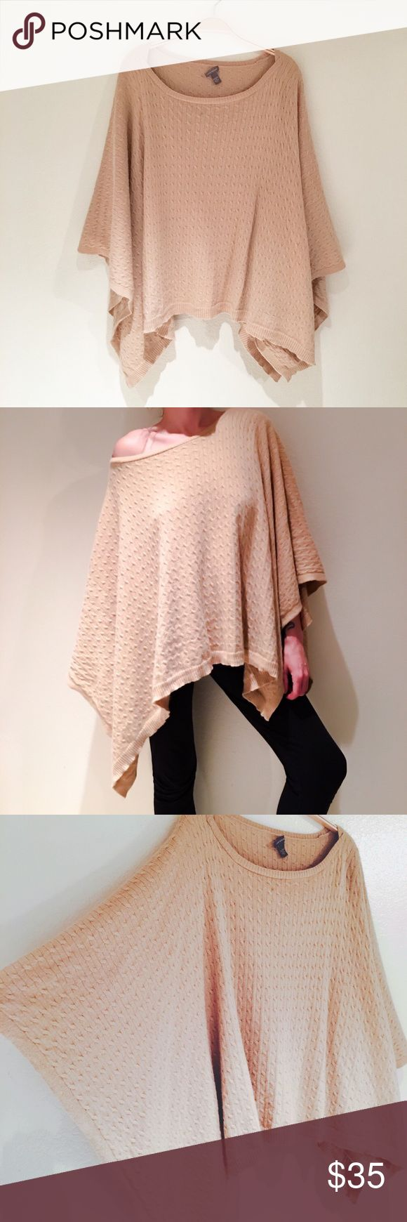 """Ann Taylor Asymmetrical Poncho Caplet Amazingly soft cable knit asymmetrical cut poncho Capelet. No armholes or sleeves. Warm and comfortable tan color made of 62% nylon, 28% rabbit hair, and 10% wool (not itchy at all). The size tag has been cut off and the tag is half coming undone. There is a tiny mark along the bottom hem.  Edges are 34"""" long, middle is 22"""" long. Ribbed Boatneck neckline and bottom hem. Ann Taylor Jackets & Coats Capes"""