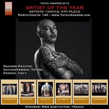 COMPLIMENTI ALLA NOSTRA SUPER GUEST DEL TATUAGGIO ETNICO CHE DAL 9° posto è salito al 6°! Go Raniero Patutiki Go!  Prossime date al Subliminal Tattoo: 19-20-21 Dicembre :Sold out 16-17-18 Gennaio  #subliminaltattoofamily #ranieropatutiki  #tattooartist #tattoos  http://www.tatauawards.com/winners/artists-of-the-year-2014/6th-raniero-patutiki.html