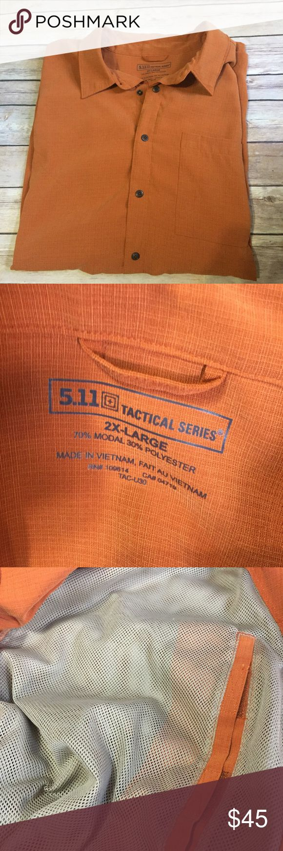 5.11 Tactical Series 2X Short Sleeve Conceal Carry From 5.11 Tactical Conceal Carry Right Or Left Handed Rust Color Snap Button Casual Shirt Sz 2XL Like New Condition 70% Modal 30% poly 5.11 Tactical Shirts Casual Button Down Shirts