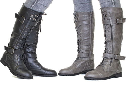 Something like this: tall combat boots