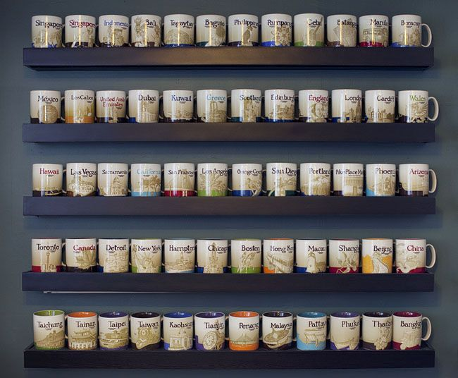 So there are OTHERS as nutty as me, about collecting Starbucks City Mugs!  (plus, I think I need these shelves!)