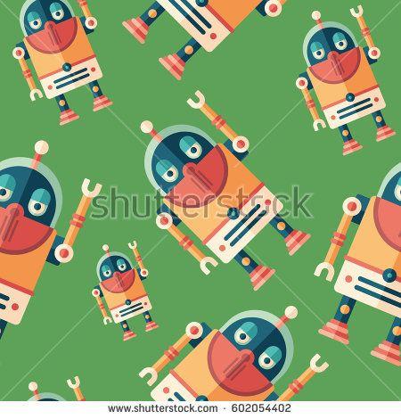 Robot tourist flat icon seamless pattern. #robots #robotics #vectorpattern #patterndesign #seamlesspattern
