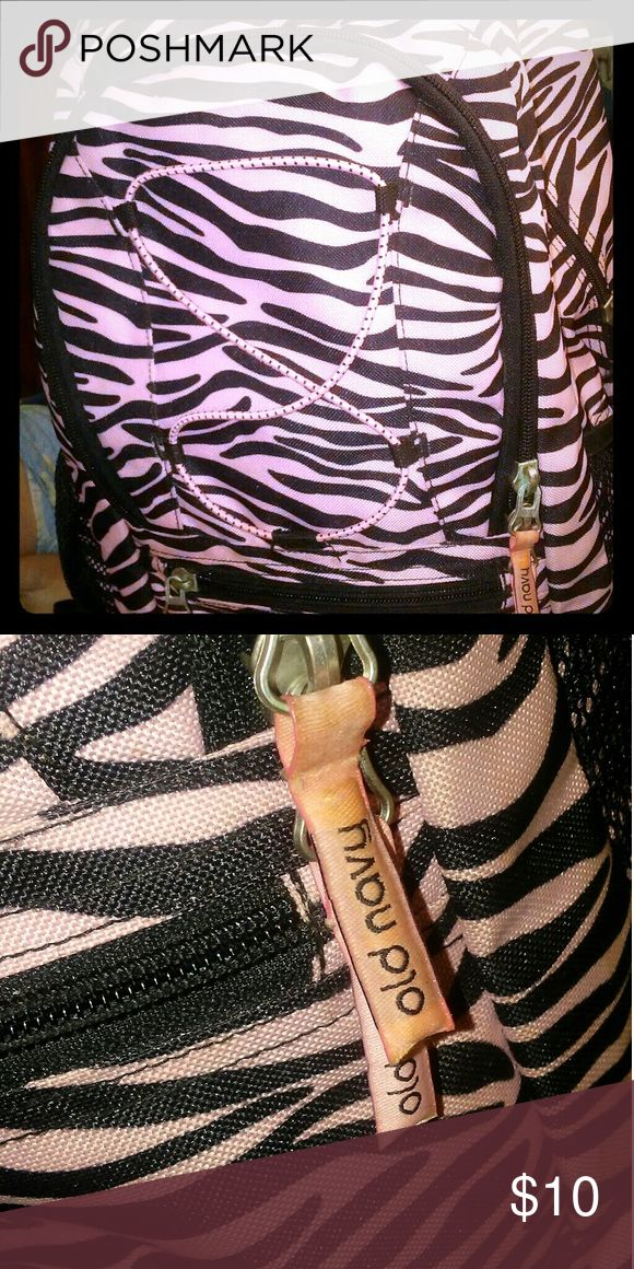 Pink zebra stripe bag (Old navy) Brand new ONLY used once and need gone today ! Old Navy Bags Backpacks