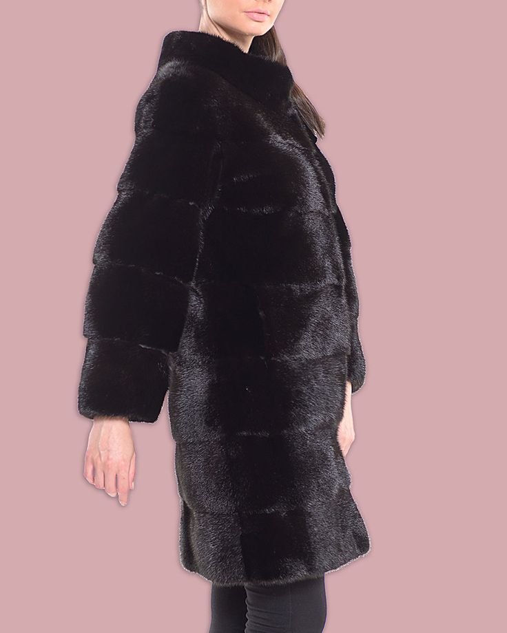 Let yourself go with this black mink fur jacket.