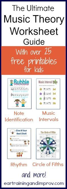 Ear training and Improvement over 25 FREE Music Theory Worksheets! These include note identification, rhythm, music intervals, scales, and more! Here are