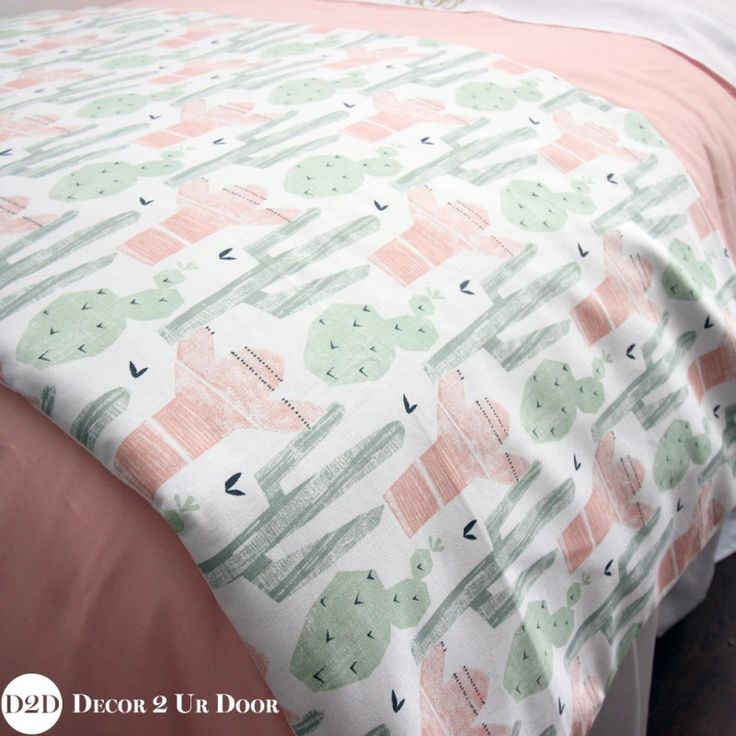 Peach & Green Cactus Designer Dorm Bedding Set