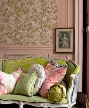 SoOo BeauTiFuL: Colors Combos, Design Guild, Soft Pink, Vintage Pink, Green, Colors Schemes, Sofas, Pillows, French Style