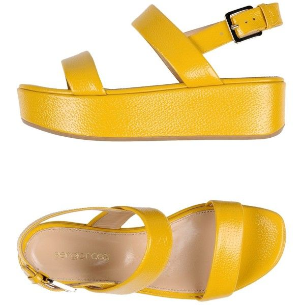 Sergio Rossi Sandals (€275) ❤ liked on Polyvore featuring shoes, sandals, yellow, rubber sole sandals, rubber sole shoes, yellow leather shoes, yellow sandals and leather buckle sandals