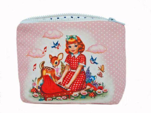 Cotton-Candy-Piano-Girl-Cute-Deer-Pink-Retro-Kitsch-Zipped-Cosmetic-Make-Up-Bag