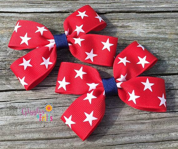 4th of July Pigtail Hair Bows Red White and Blue Hair Bows