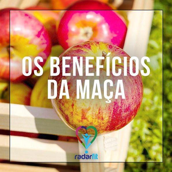 Os benefícios da maçã:   radarfit- Contem vitaminas A, B1, B2, C, E, pectina e sais mineiras como fósforo, magnésio, potássio e ferro. - Previne condições como intestino preso - Melhora o sistema nervoso e diminui a ansiedade - Purifica o sangue - Por ser antioxidante, retarda o envelhecimento. - Impede a formação de cálculos, evita a indigestão, previne a infecção da garganta - A pectina e potássio evitam o acumulo de gordura na parede arterial, prevenindo o entupimento das artérias…