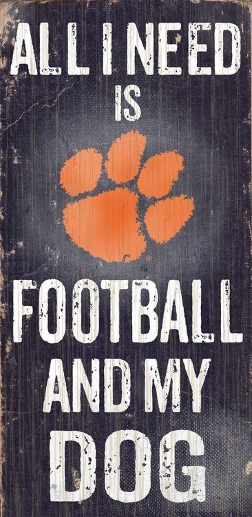 "Clemson Tigers Wood Sign - Football and Dog 6""""x12"""""