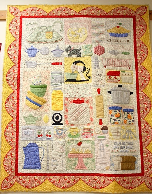 fab quilt with a kitchen theme. I am in love with her patterns. I want this in my kitchen! :