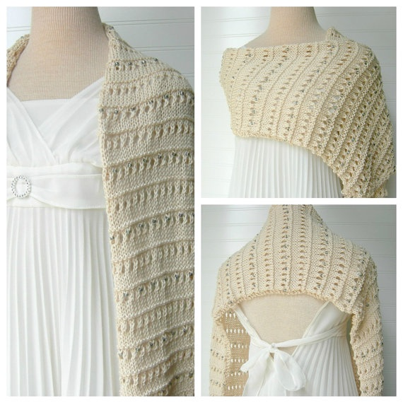 Lace Beaded Shoulder Wrap Wedding Shawl / Summer Shawl