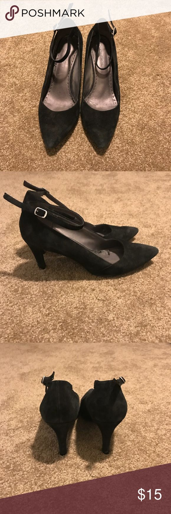 """Adrienne Vittadini Strappy Heels Worn and loved but my feet grew after giving birth!! Perfect shoes for salsa dancing. Brand new taps & have not worn since adding taps on. Size: 7.5 Heel: 2.5"""" Material: Suede Color: Black Sole: Leather Toe: Rounded Point Adrienne Vittadini Shoes Heels"""