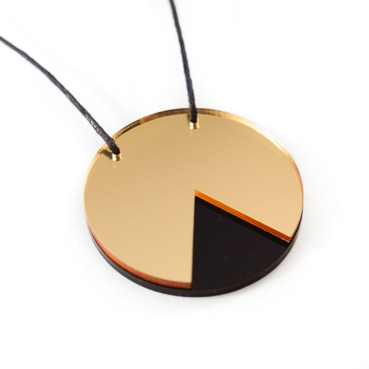 Amindy  - GEO - Circle Necklace - Gold Mirror and Black - $30 - Shop online at www.amindy.com.ay