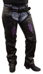 1179 Ladies Black or Purple Wing Chaps by AntelopeCreekLeather on Etsy