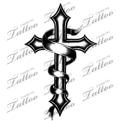 cross tattoo with banner tatoos pinterest tattoo