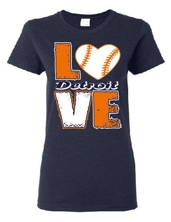 Love Detroit Baseball Screen Printed t shirt Free Shipping