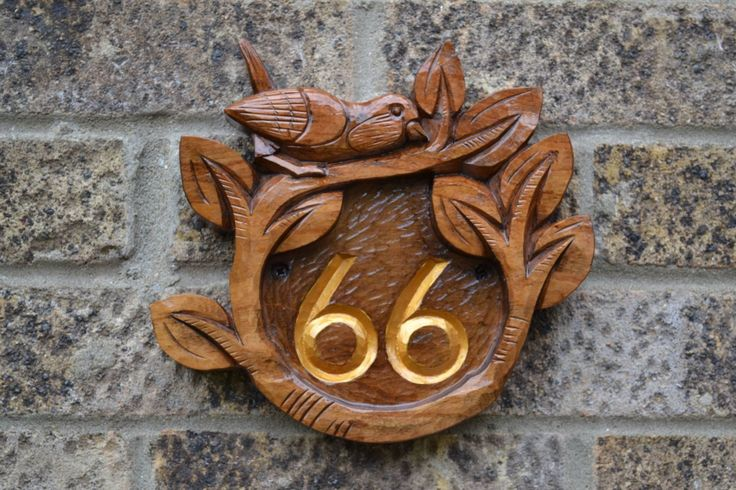 Wooden Carved Number Plaque Choosing The Right Outdoor Home Plaques Check more at http://www.wearefound.com/choosing-the-right-outdoor-home-plaques/