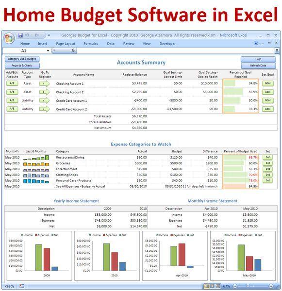 Georges Budget For Excel V12 0 Budget Spreadsheet Budget