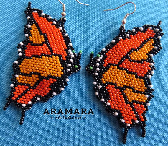 Huichol Beaded Butterfly Earrings AO-0188 Mexican earrings