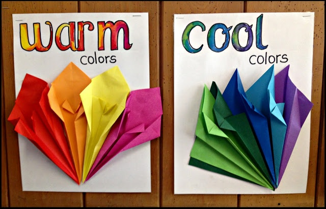 3-D posters of the warm and cool colours.  Kaleb could make these for me with origami!