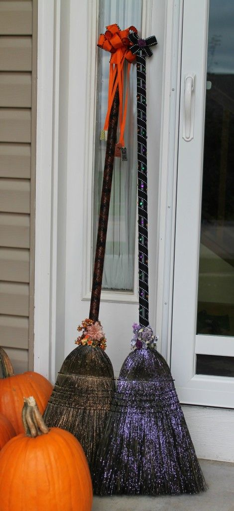 Dollar store brooms with spray paint