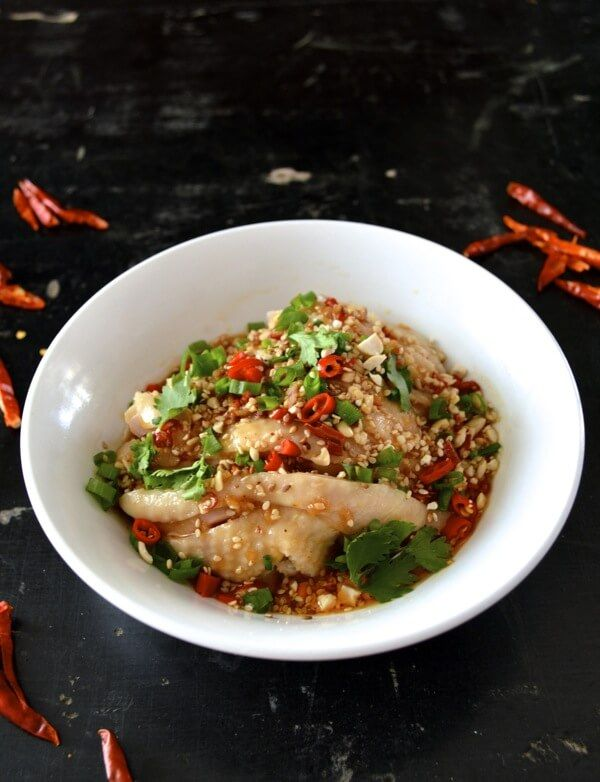 Drool-worthy Chicken in Chili Oil Sauce (Kou Shui Ji), by thewoksoflife.com