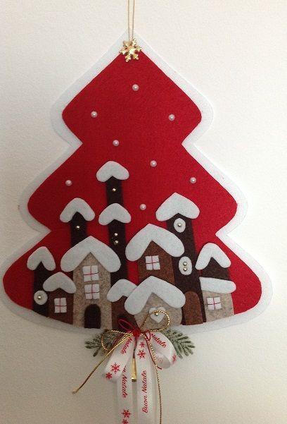 Albero natalizio fuori porta in feltro idee per il fai for Idee per il fai da te