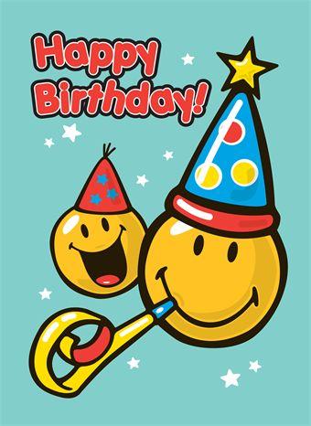 Happy Birthday smiley kaart!