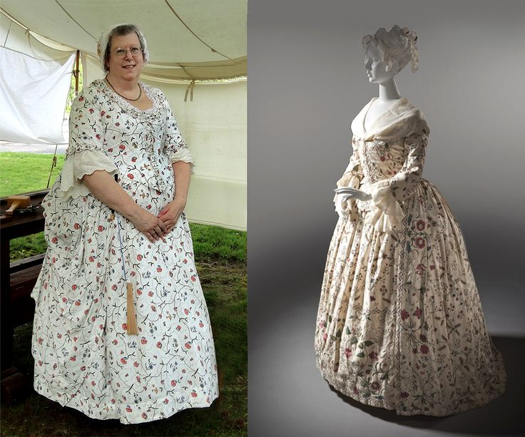 """This robe à l'anglaise gown and matching petticoat are in a light colored """"Indienne"""" design of trailing vines and  flowers. The gown was fitted to the figure by means of sewn-down, curved back pleats or separate shaped pieces. By the 1770s, gowns used a center-front closing, often with trimming around the neckline, sleeve cuffs and bodice center front."""