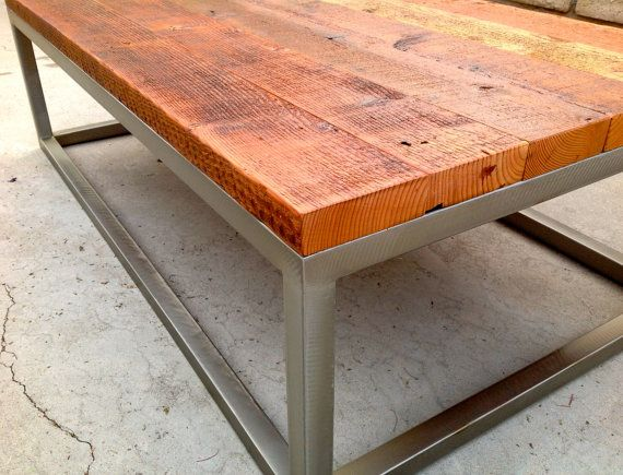 Rustic Contemporary Coffee Table with Brush Metal by LumaWorks, $700.00