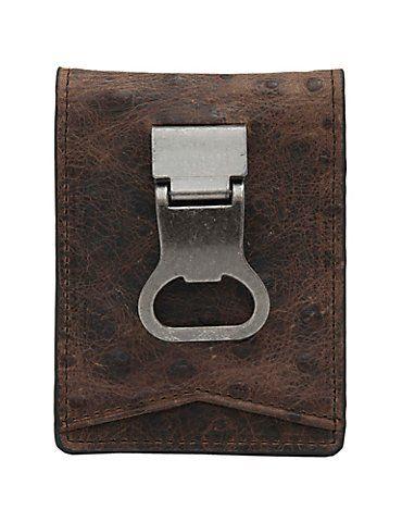 DBL Barrel Brown Ostrich Print with Bottle Cap Money Clip Bi-Fold Wallet | Cavender's